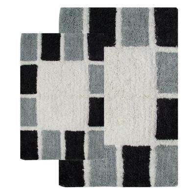 20 in. x 32 in. and 23 in. x 39 in. 2-Piece Mosaic Tiles Bath Rug Set in Silver and Grey