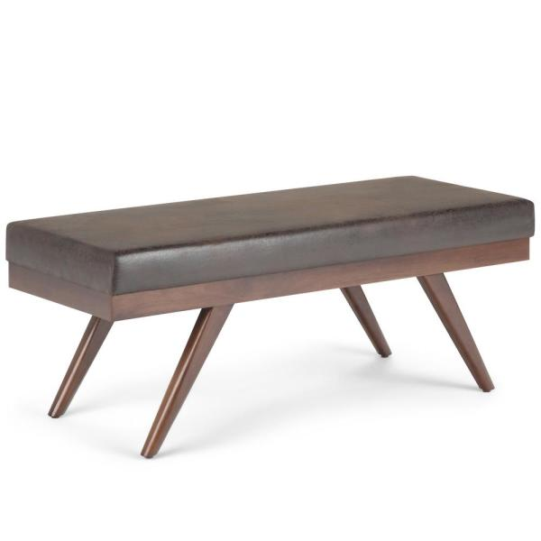 Simpli Home Chanelle 48 in. Mid Century Modern Ottoman Bench in Distressed Dark Brown Faux Air Leather