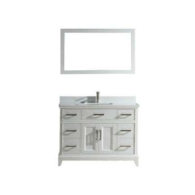 Genoa 48 in. W x 22 in. D x 36 in. H Vanity in White with Single Basin Vanity Top in White Phoenix Stone and Mirror