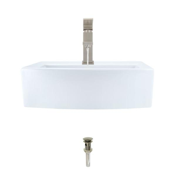 Mr Direct Porcelain Vessel Sink In White With 720 Faucet And Pop Up Drain In Brushed Nickel V300 W 720 Bn The Home Depot