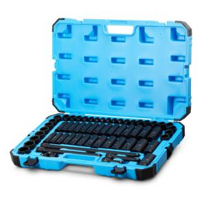 Capri Tools 1/2 inch Drive SAE/Metric Master Impact Socket Set with Adapters and Extensions (61-Piece) by Capri Tools