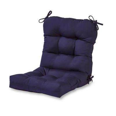 Solid Navy Outdoor Dining Chair Cushion