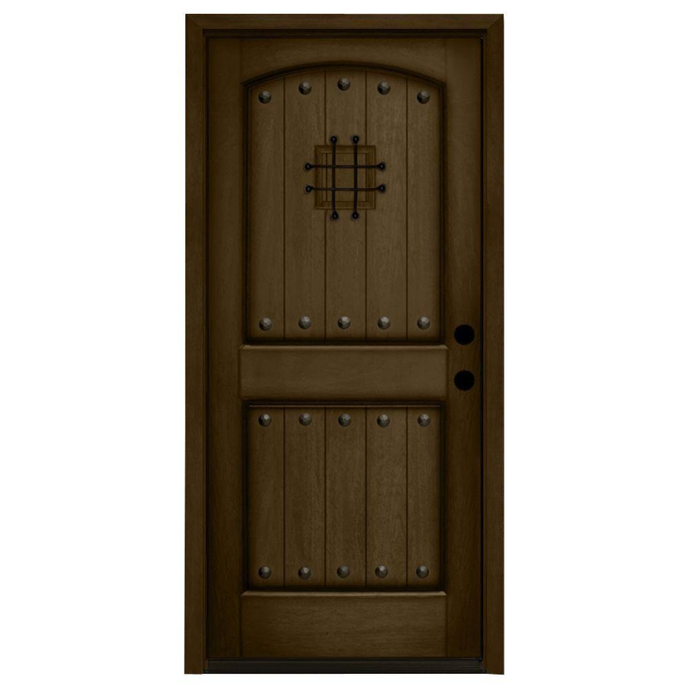 rustic 2 panel speakeasy stained mahogany wood prehung front door - Single Exterior Doors