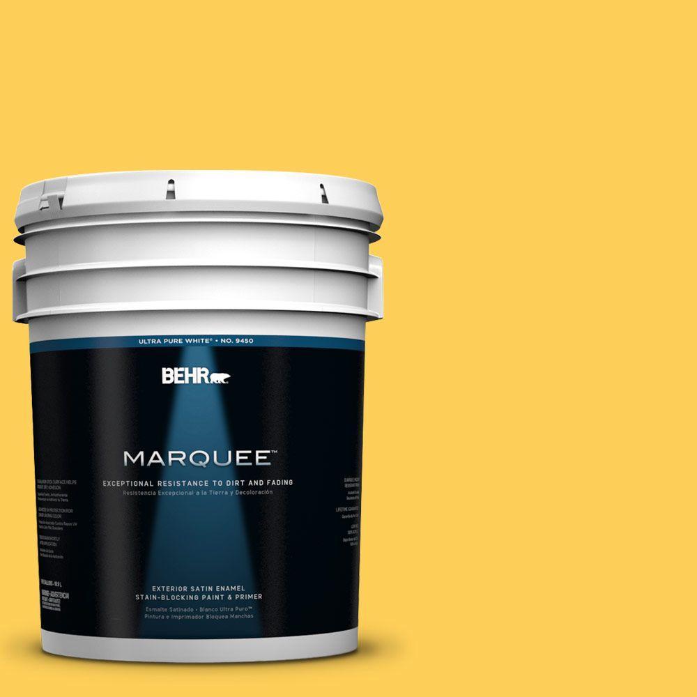 BEHR MARQUEE 5-gal. #330B-6 Lemon Sorbet Satin Enamel Exterior Paint