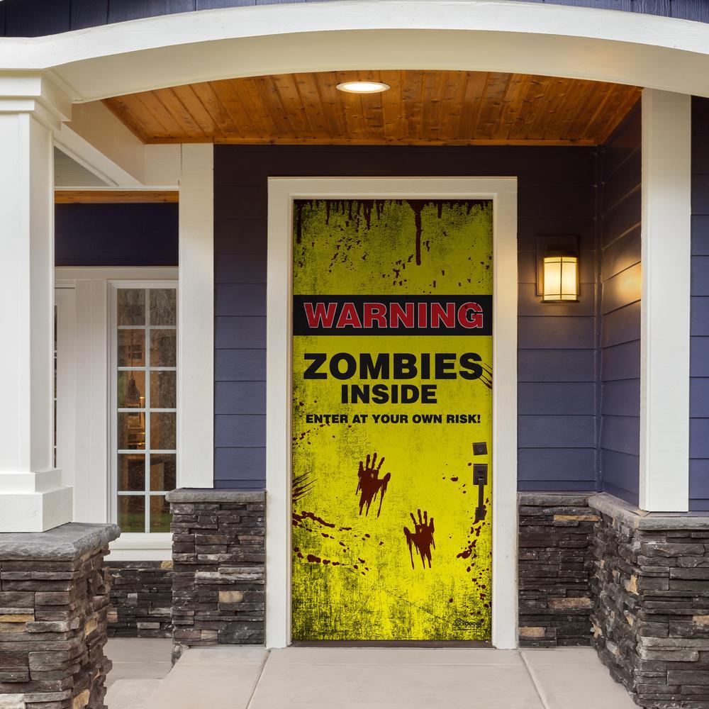 36 in. x 80 in. Zombies Inside Halloween Front Door Decor Mural