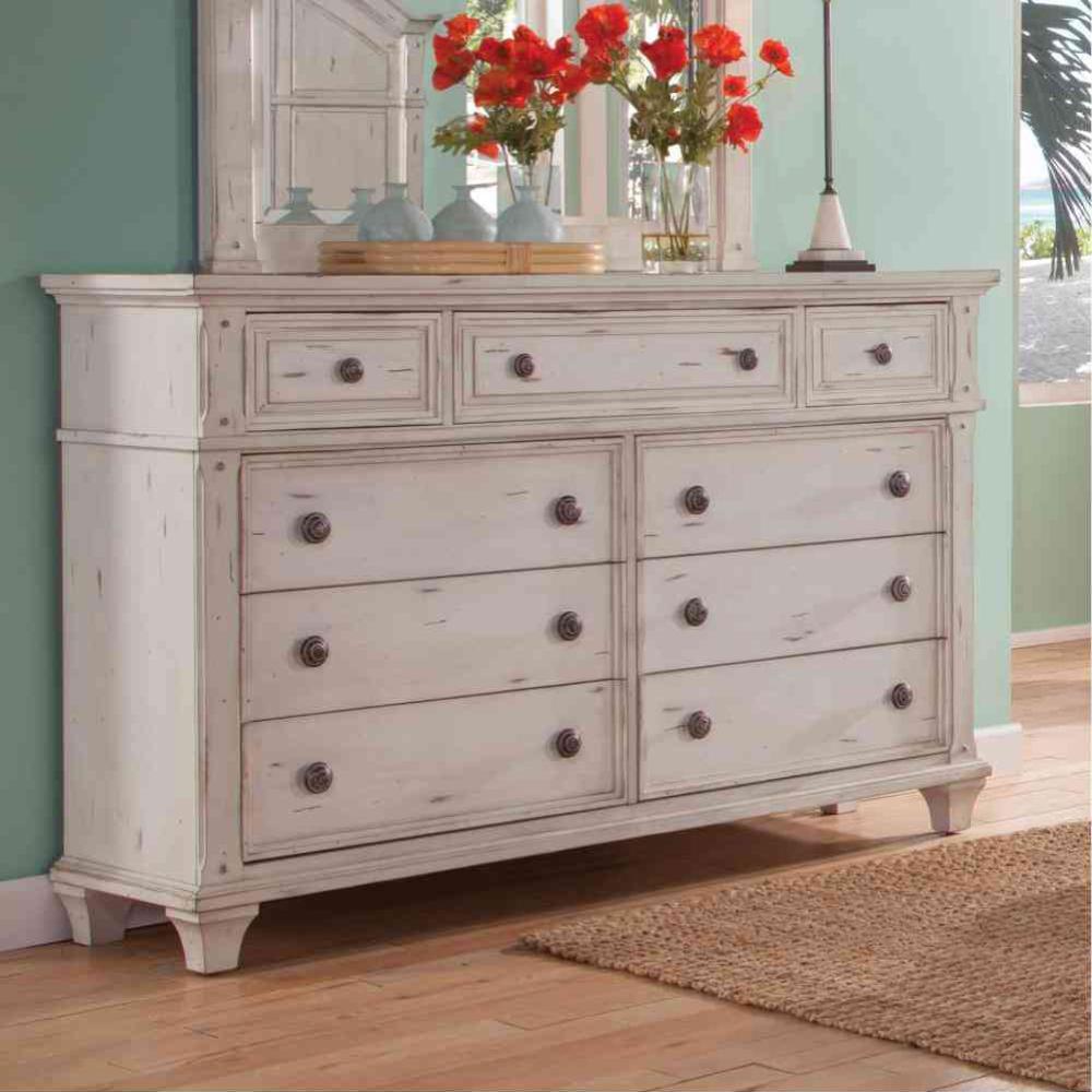 Sedona 9-drawer Antique Cobblestone White Dresser