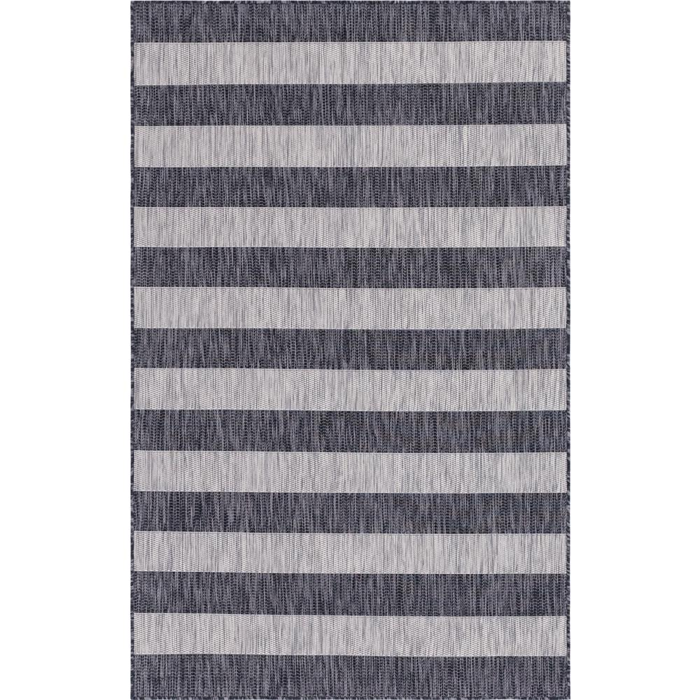 Unique Loom Outdoor Distressed Stripe Gray 6 ft. x 9 ft. Area Rug
