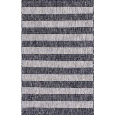Outdoor Distressed Stripe Gray 4 ft. x 6 ft. Area Rug