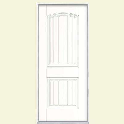32 in. x 80 in. Cheyenne 2-Panel Left Hand Inswing Painted Smooth Fiberglass Prehung Front Door No Brickmold