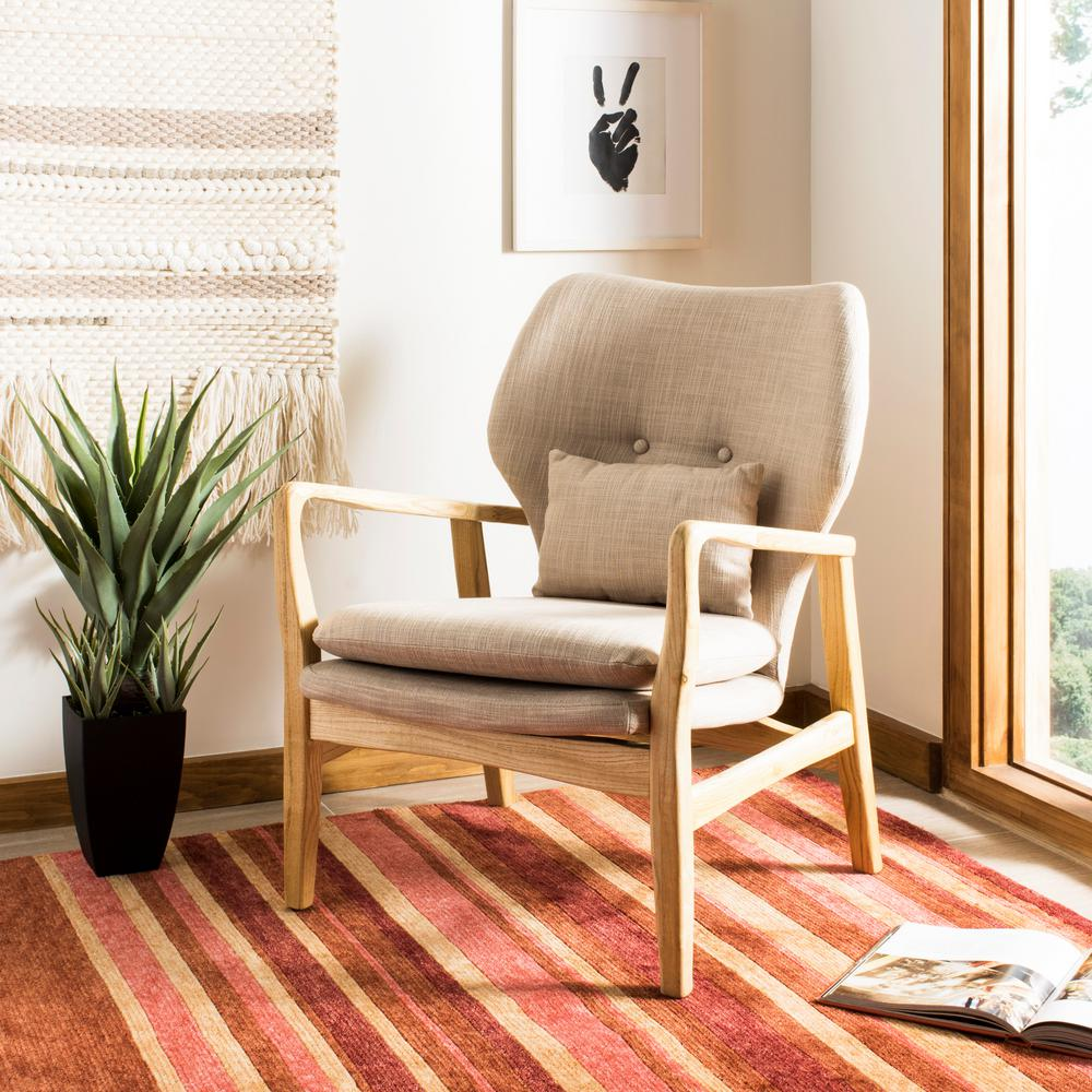 Tarley beige natural viscose polyester accent chair