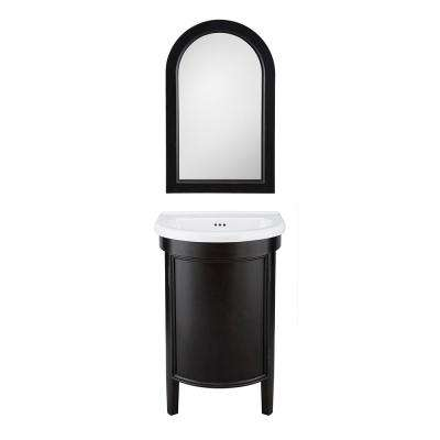 Laguna 23 in. W x 20 in. D Vanity in Antique Black with Vitreous China Vanity Top in White with White Sink