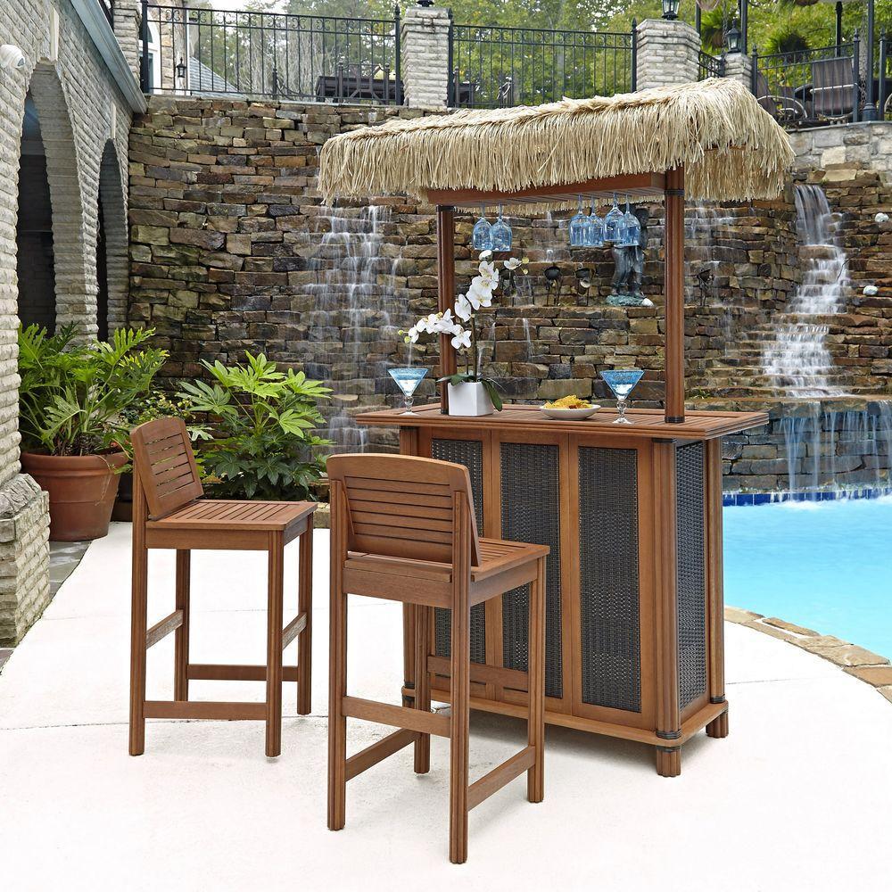 Homestyles Bali Hai Outdoor Patio Tiki Bar And 2 Stools 5662 988
