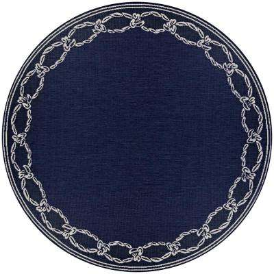Recife Rope Knot Ivory-Indigo 9 ft. x 9 ft. Round Indoor/Outdoor Area Rug