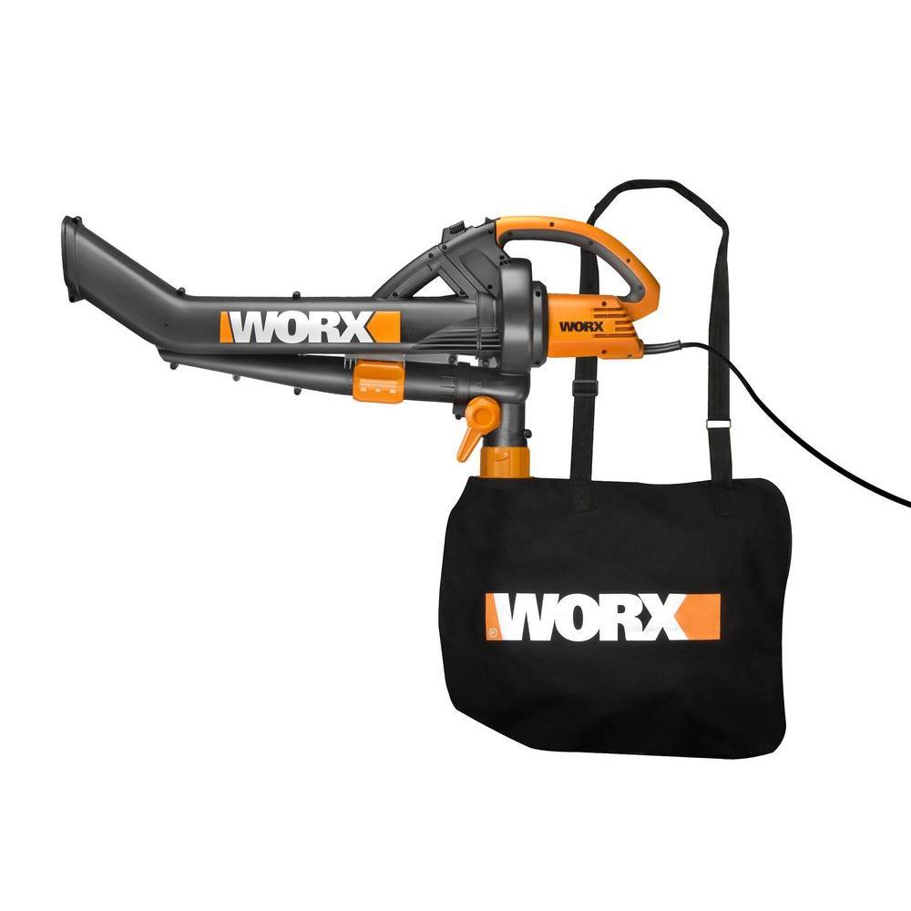 Worx Trivac 210 MPH 350 CFM 12 Amp Electric Blower Vacuum Mulcher with Metal Impeller