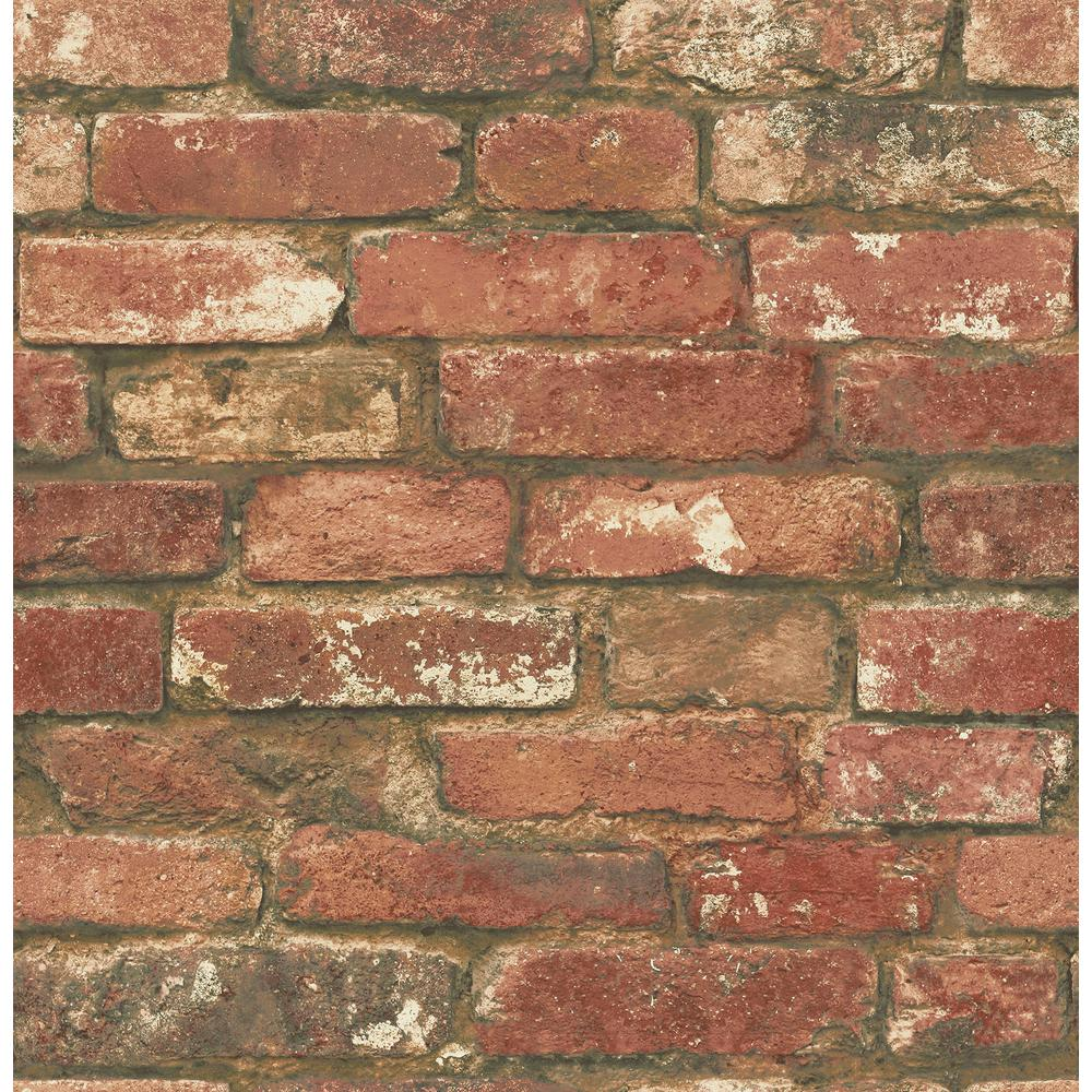 NuWallpaper NuWallpaper West End Brick Peel and Stick Wallpaper Sample, Red