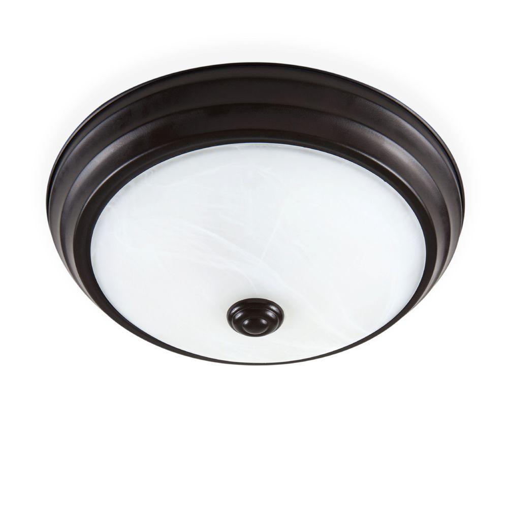 Satin Bronze LED Flushmount with Alabaster Glass