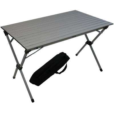 Silver Aluminum Rectangle Picnic Table with Bag