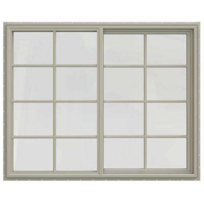 59.5 in. x 47.5 in. V-4500 Series Left-Hand Sliding Vinyl Windows with Grids - Tan