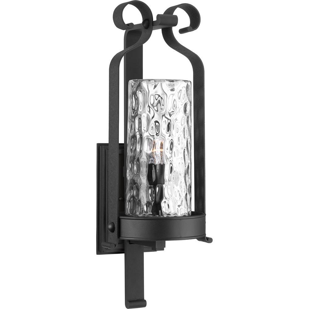 Hermosa 1-Light Black 32 in. Outdoor Wall Lantern Sconce