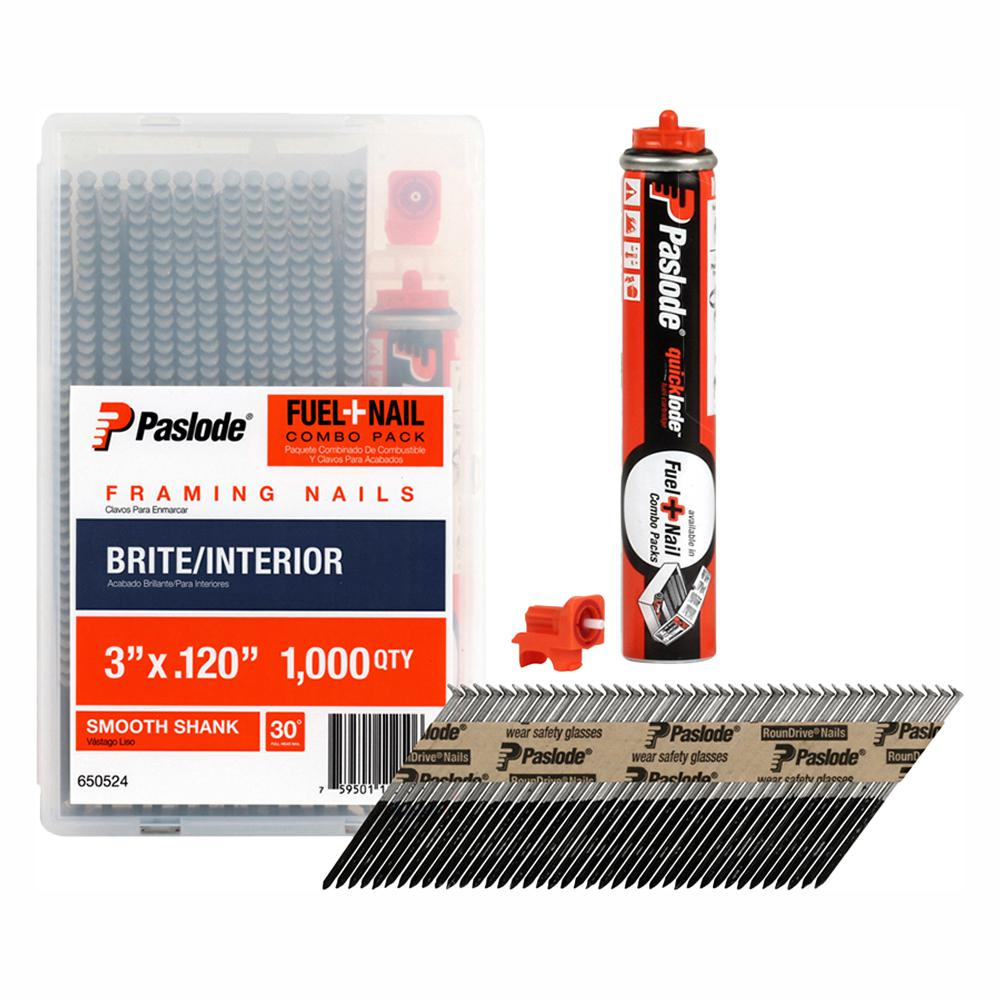 Paslode 3 in. x 0.120-Gauge Brite Smooth Shank FUEL + NAIL Pack (1,000 Nails + 1 Fuel Cell)