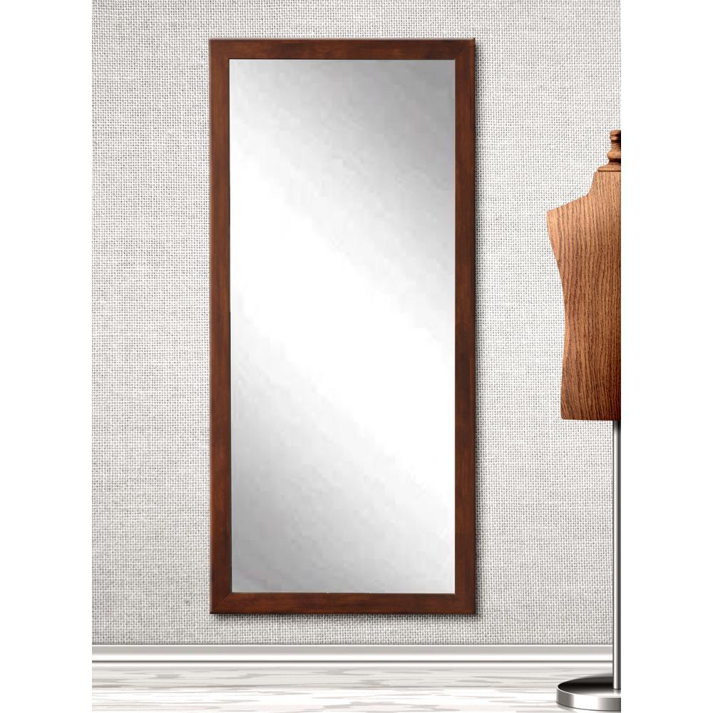 30 in. x 63.5 in. Slim Cut Dark Brown Floor Mirror