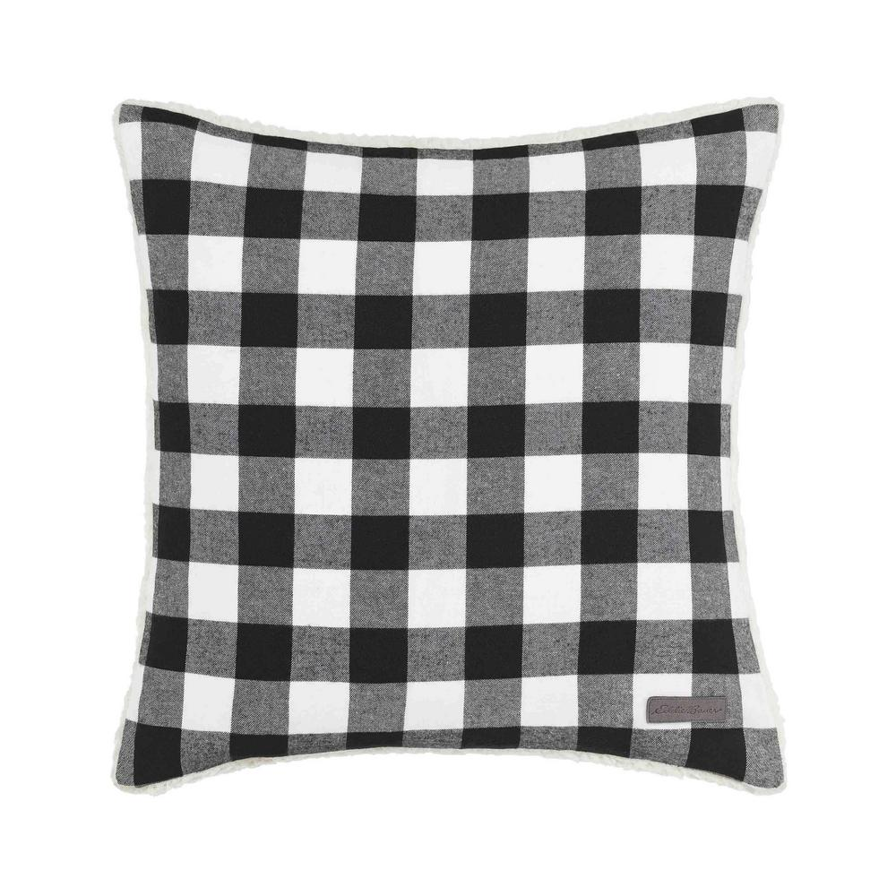 Eddie Bauer Cabin Black Plaid 20 In X 20 In Throw Pillow 224035 The Home Depot