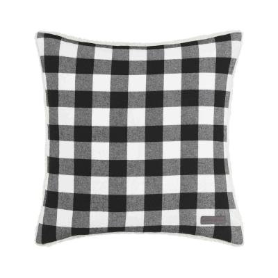 Cabin Plaid Collection Black Geometric Polyester 20 in. x 20 in. Throw Pillow