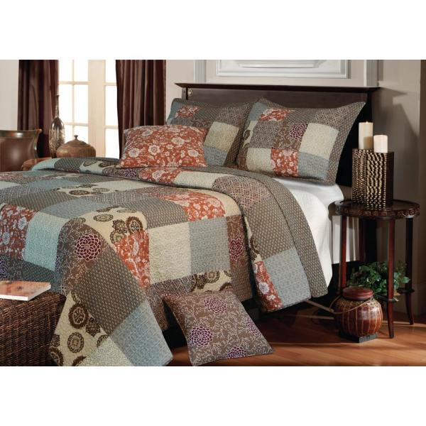 Greenland Home Fashions Stella 3-Piece Multi Full and Queen Quilt Set