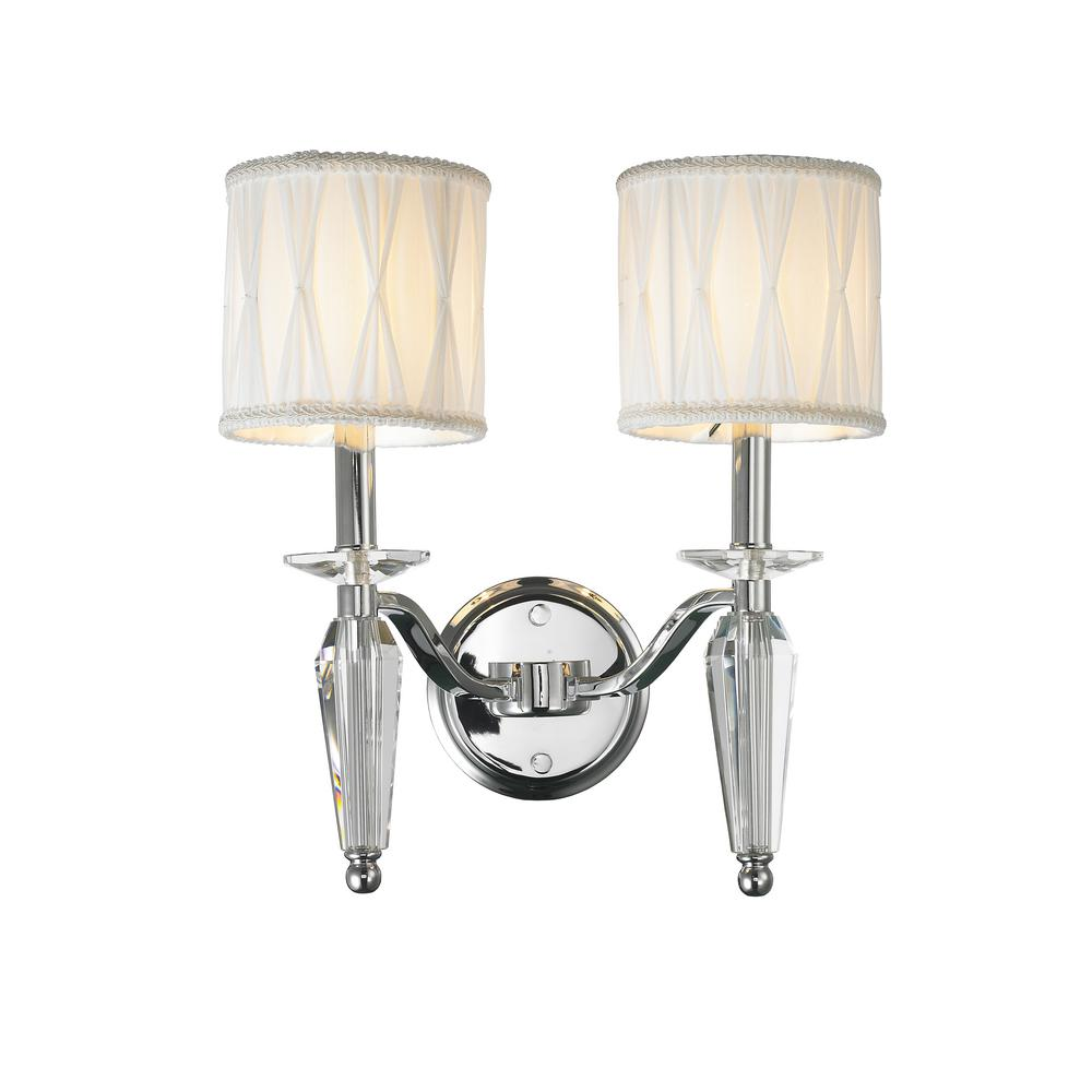 Worldwide lighting gatsby collection 2 light chrome clear crystal worldwide lighting gatsby collection 2 light chrome clear crystal sconce with shade aloadofball Gallery