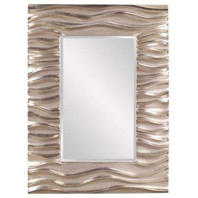39 in. x 31 in. Bright Silver Textured Rectangle Framed Mirror