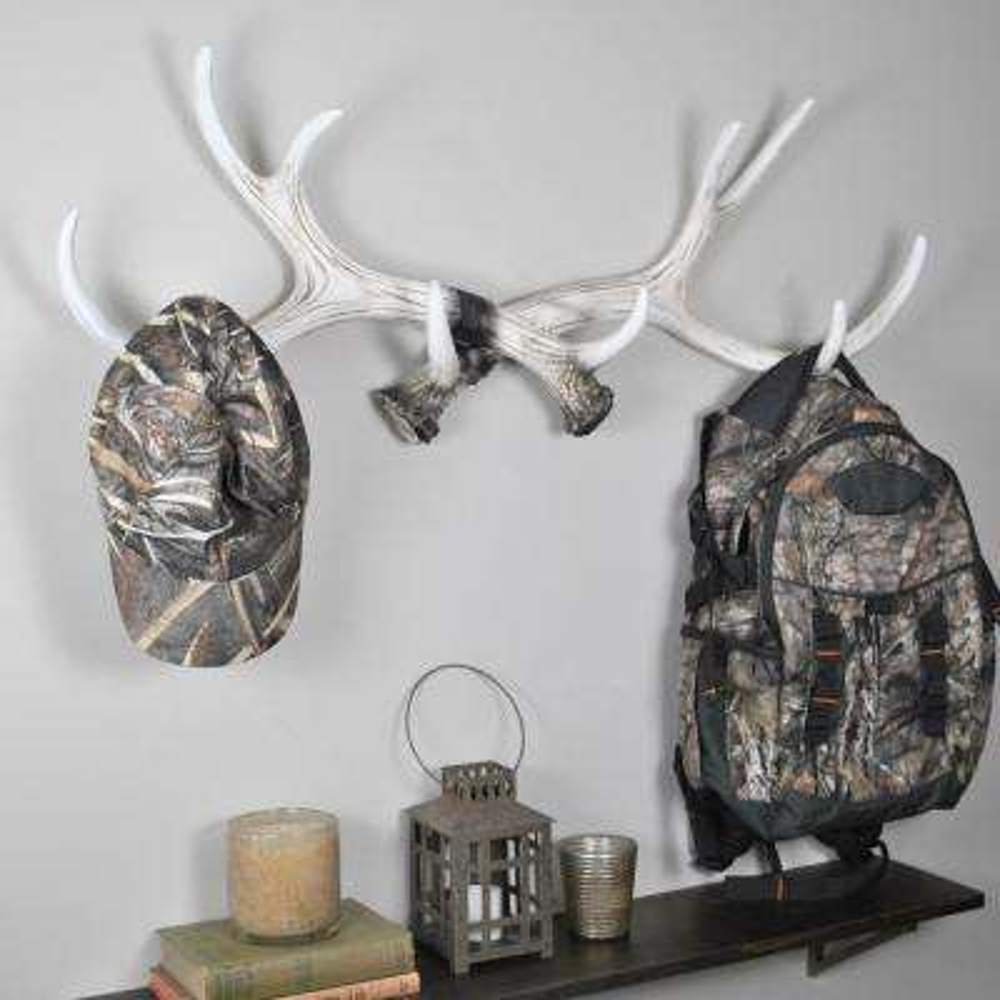 Beige Ivory Resin Antler Coat Rack