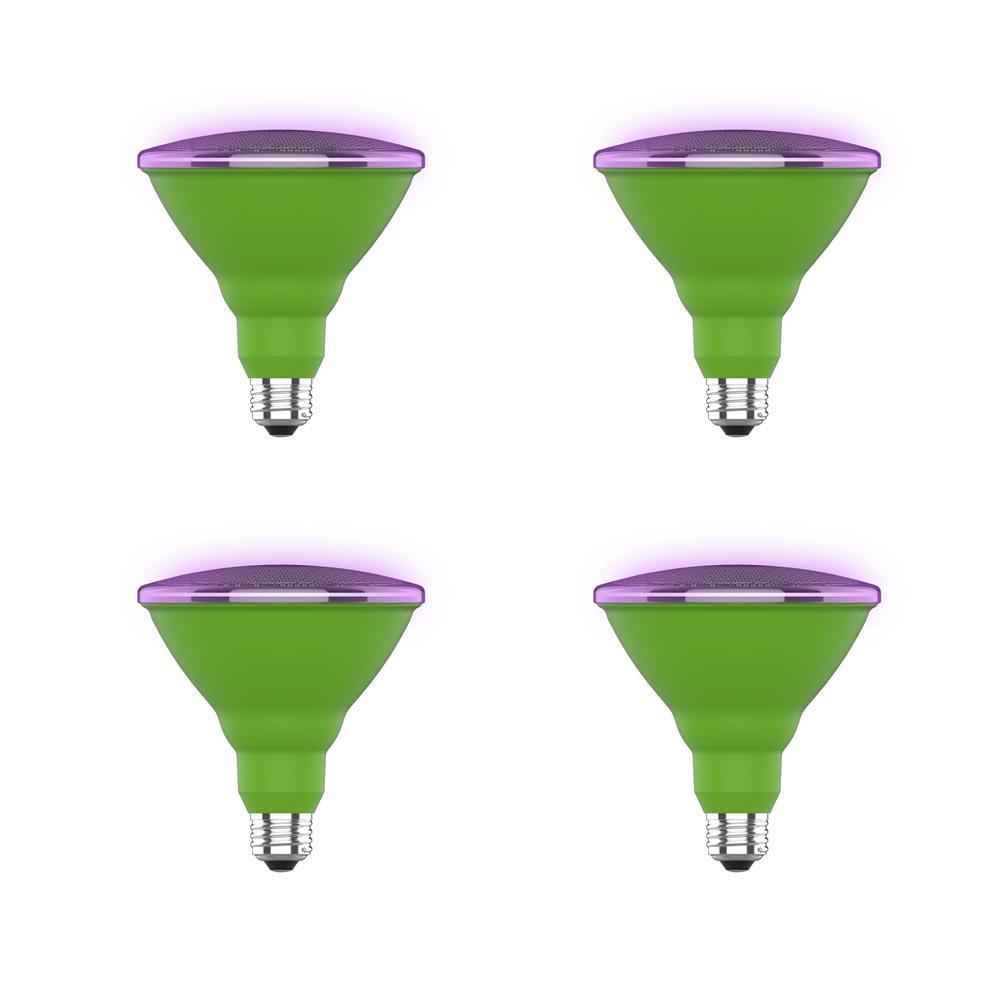 16-Watt Equivalent PAR38 Medium E26 Non-Dimmable Indoor and Outdoor Full Spectrum Plant Grow LED Light Bulb (4-Pack)