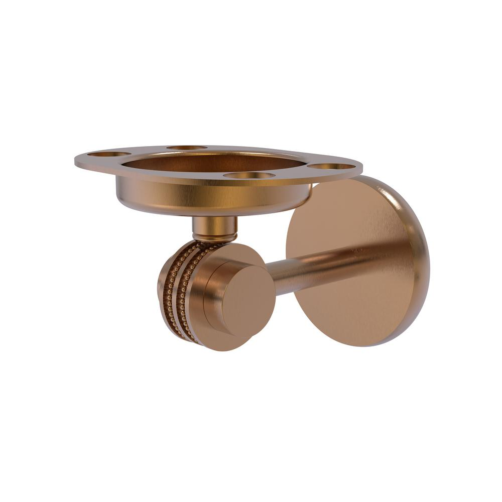 Allied Brass Satellite Orbit Two Collection Tumbler and Toothbrush Holder with Dotted Accents in Brushed Bronze