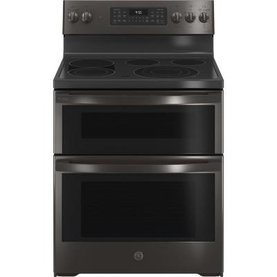 Profile 6.6 cu. ft. Double Oven Electric Range with Self-Cleaning Convection Oven in Black Stainless Steel