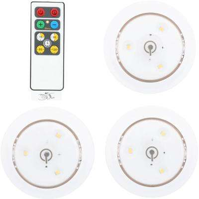 LED White Puck Light with Remote (3-Pack)