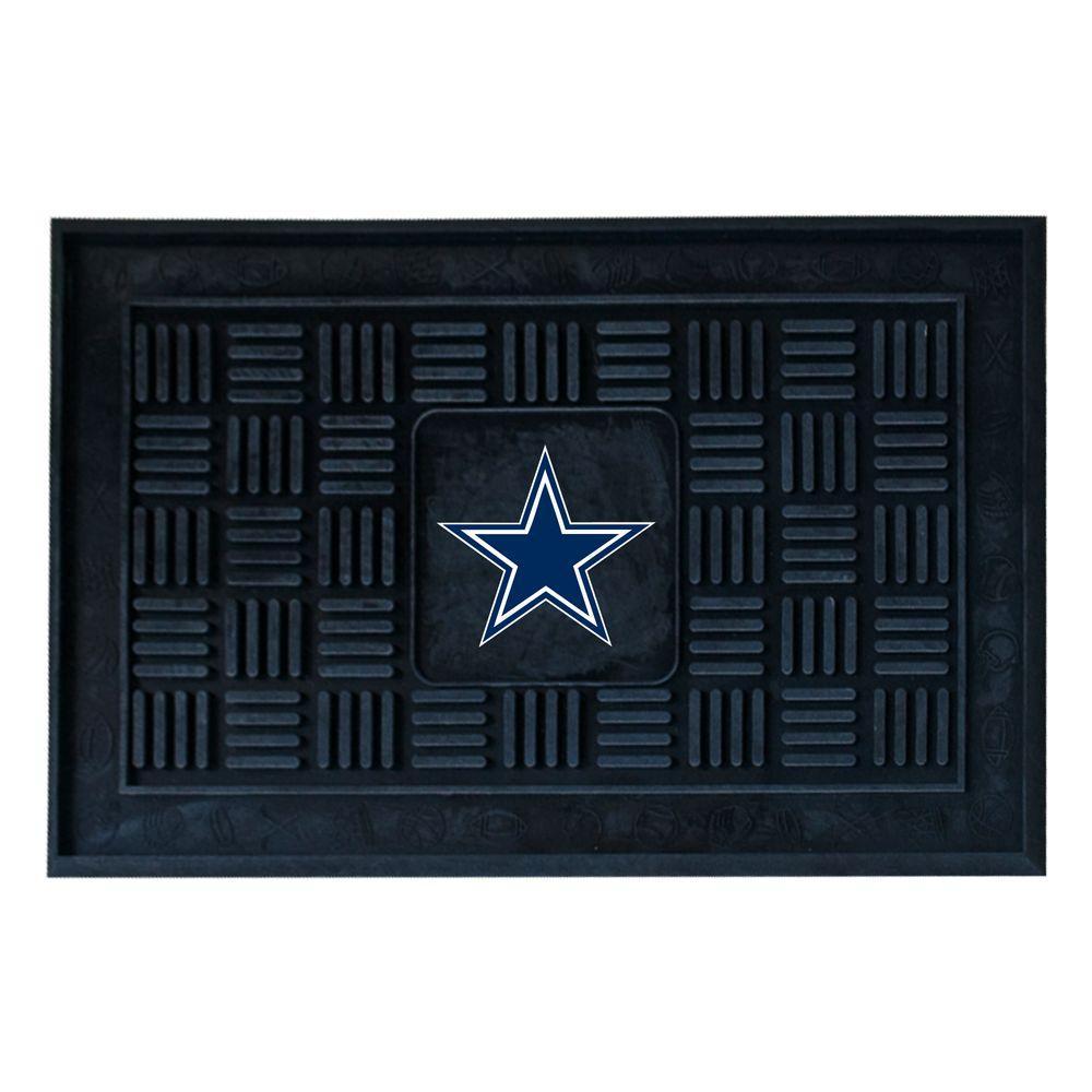 NFL Dallas Cowboys Black 19 in. x 30 in. Vinyl Outdoor Door Mat