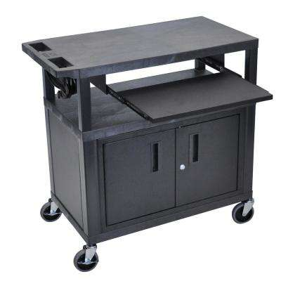 32 in. W x 18 in. D x 34 in. H 3-Flat Shelf Presentation Cart with Pullout Shelf and Cabinet in Black