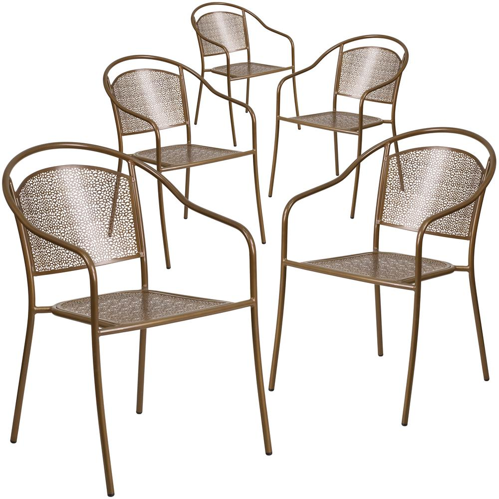 Stackable Metal Outdoor Dining Chair in Gold (Set of 5)
