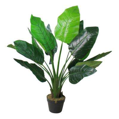 42 in. Artificial Green Bird of Paradise Plant with Black Pot