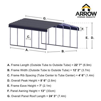 12 ft. W x 24 ft. D Charcoal Galvanized Steel Carport, Car Canopy and Shelter