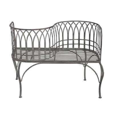 Iron and Steel Outdoor Patio Porch Garden Park Curved Unique Bench in Antique Grey