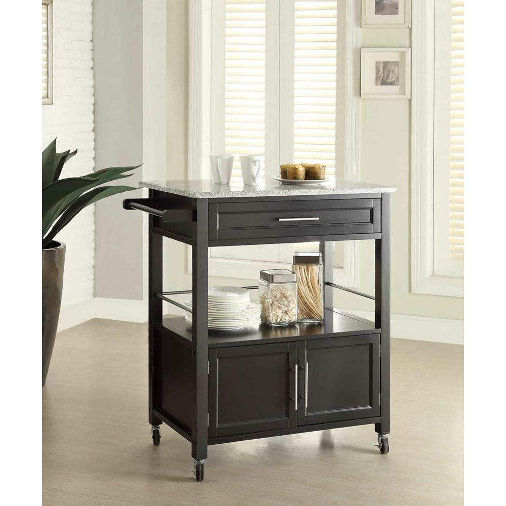 Linon Home Decor Cameron Black Kitchen Cart With Storage by Linon Home Decor