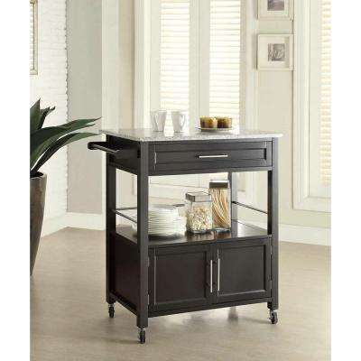 Cameron Black Kitchen Cart With Storage