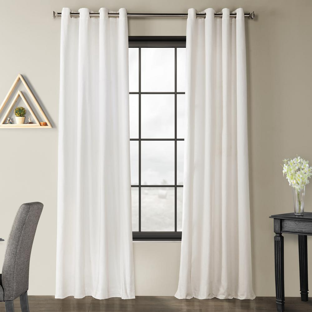 Exclusive Fabrics & Furnishings Pacific Pearl White Solid Country Cotton Linen Weave Grommet Curtain - 50 in. W x 84 I n. L
