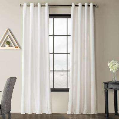 Pacific Pearl White Solid Country Cotton Linen Weave Grommet Curtain - 50 in. W x 96 in. L