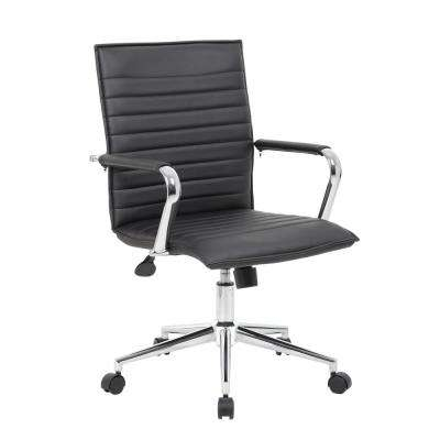 Ribbed Black Back Task Chair