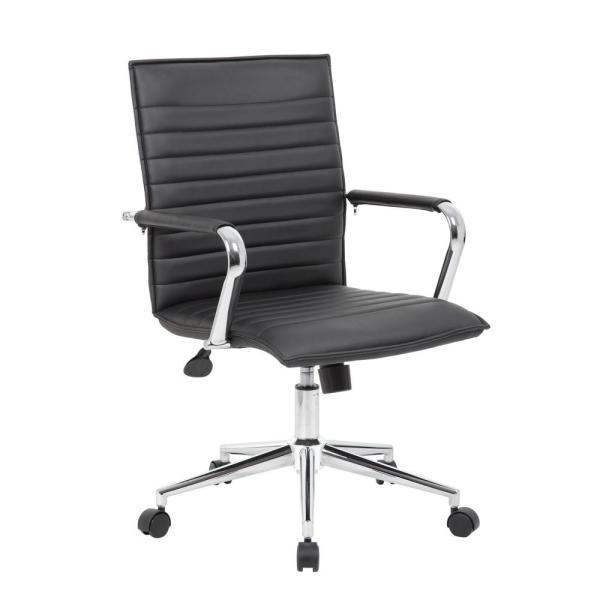 Boss Ribbed Black Back Task Chair B9533C-BK