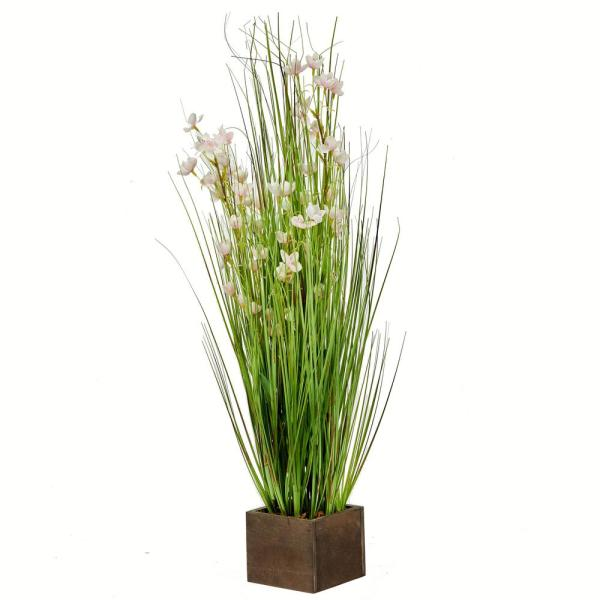 30 in. Bell Flower and Green Onion Grass in Square Wood Container