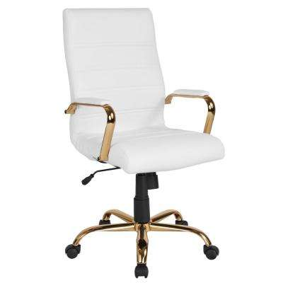White Leather/Gold Frame Office/Desk Chair