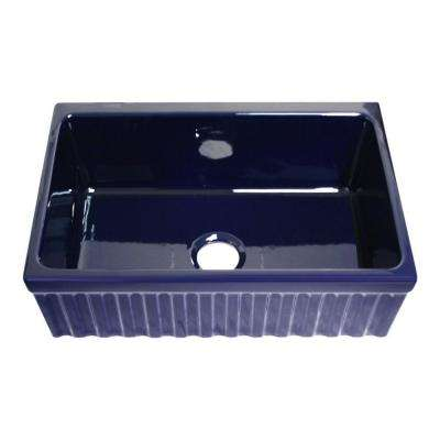 Quatro Alcove Reversible Farmhaus Series Apron Front Fireclay 30 in. Single Bowl Kitchen Sink in Sapphire Blue